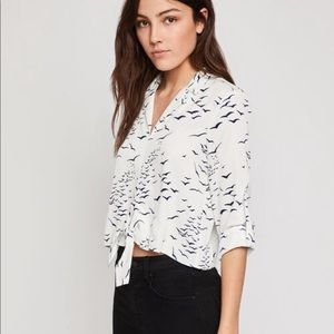 NWT BCBGeneration White Tie-Front Top Birds Collar